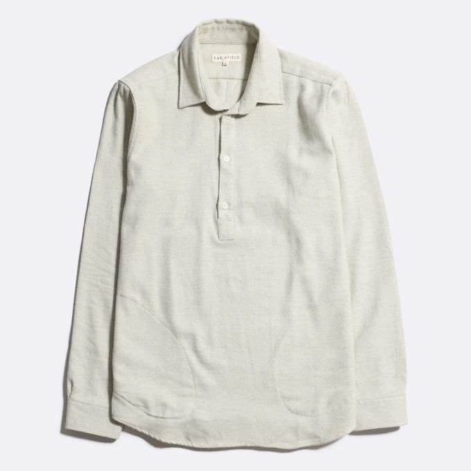 Far Afield Side Pocket Pop Over Long Sleeve Shirt a Pale Green Cotton Classic Fabric Menswear Smart Casual