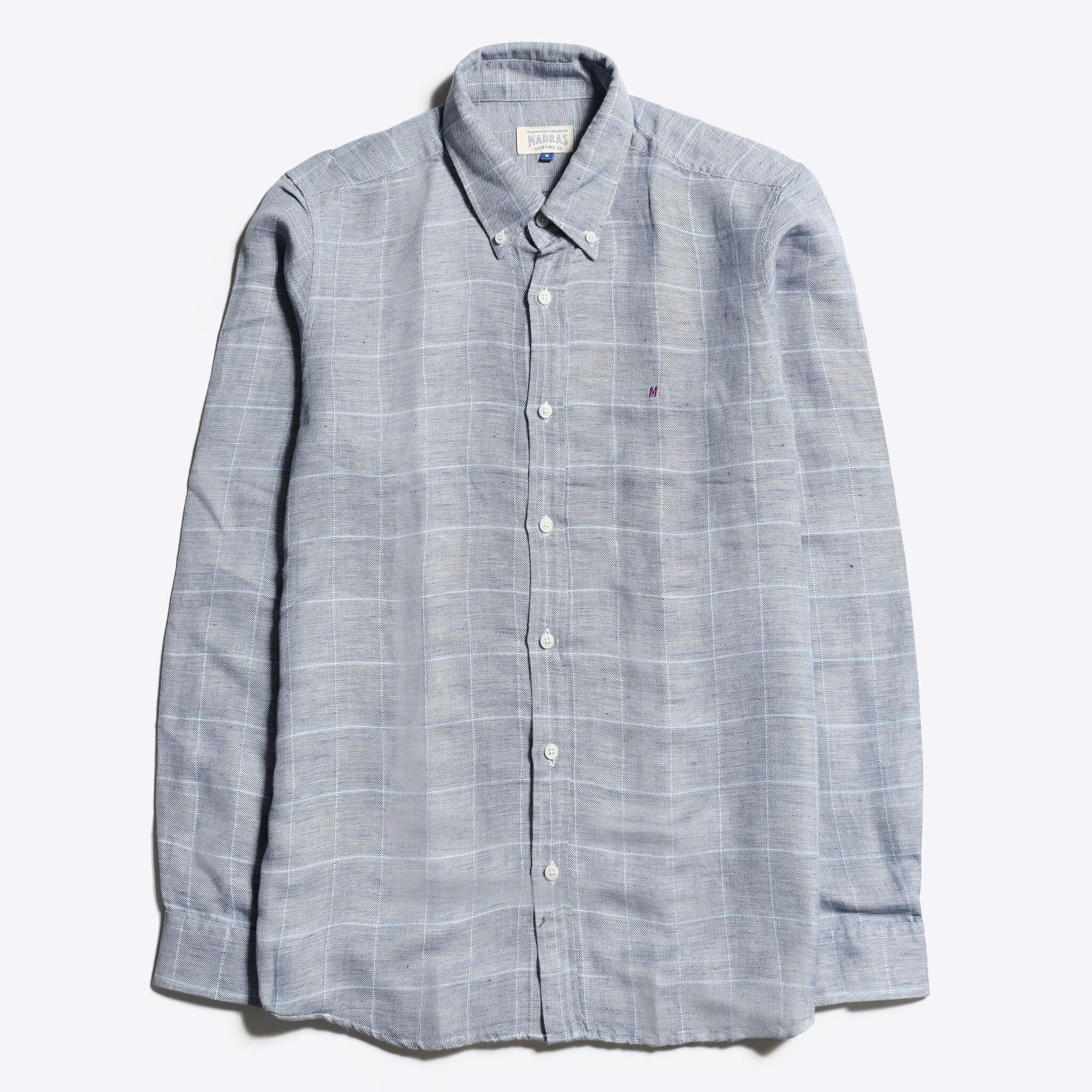Madras Shirting Co' Mod Button Down Long Sleeve Shirt a Grey Check Linen Up-Cycled Fabric Classic Check Smart Casual