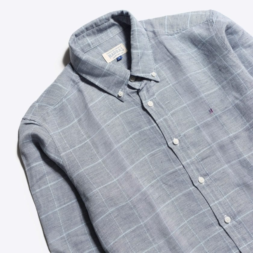 Madras Shirting Co' Mod Button Down Long Sleeve Shirt a Grey Check Linen Up-Cycled Fabric Classic Check Smart Casual 2