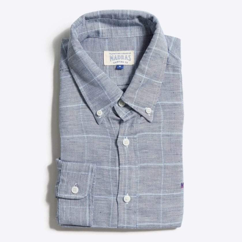 Madras Shirting Co' Mod Button Down Long Sleeve Shirt a Grey Check Linen Up-Cycled Fabric Classic Check Smart Casual 3