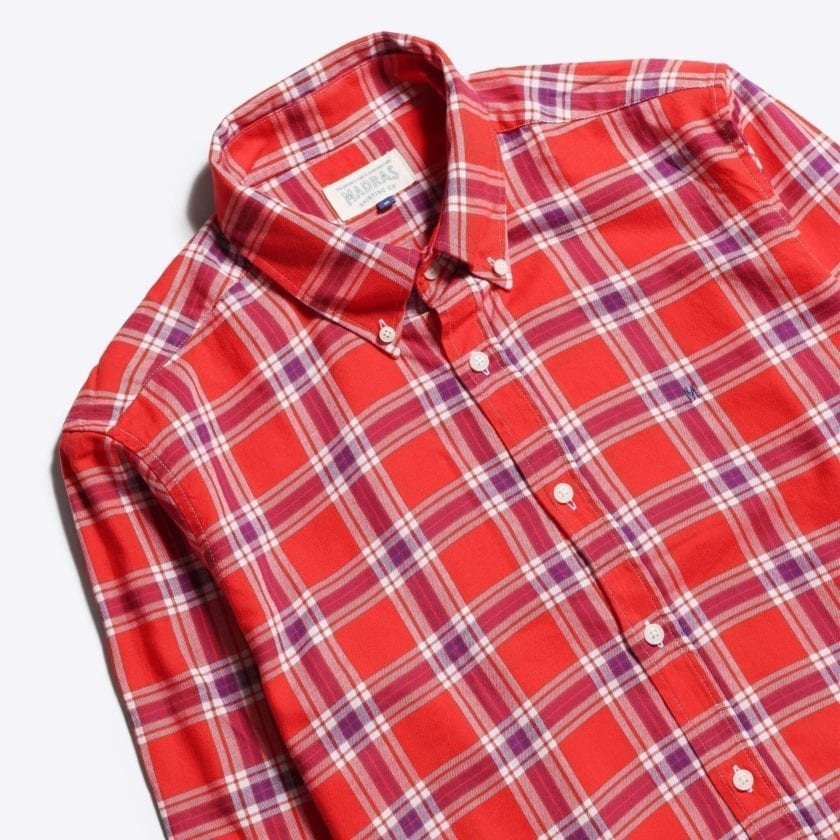 Madras Shirting Co' Mod Button Down Long Sleeve Shirt a Red Check Cotton Up-Cycled Fabric Classic Check Smart Casual 2
