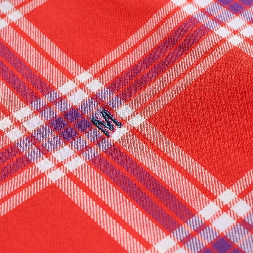 Madras Shirting Co' Mod Button Down Long Sleeve Shirt a Red Check Cotton Up-Cycled Fabric Classic Check Smart Casual 3