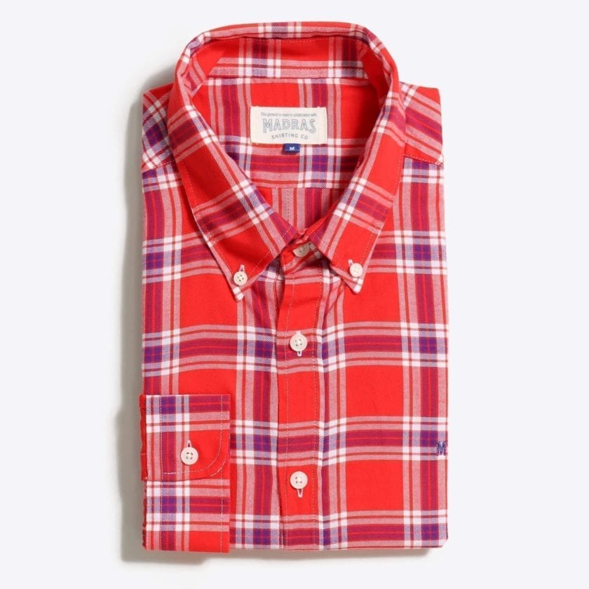 Madras Shirting Co' Mod Button Down Long Sleeve Shirt a Red Check Cotton Up-Cycled Fabric Classic Check Smart Casual 4