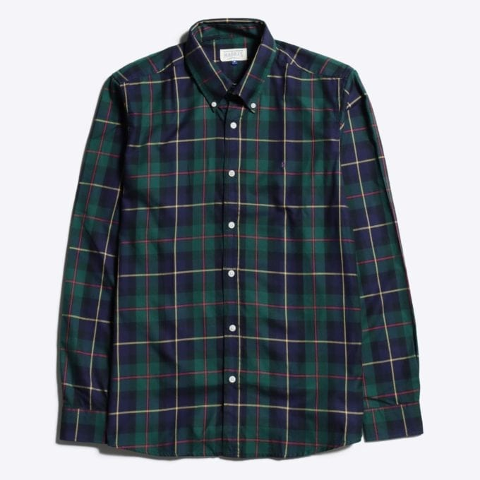 Madras Shirting Co' Mod Button Down Long Sleeve Shirt a Green Multi Check Cotton Up-Cycled Fabric Classic Check Smart Casual