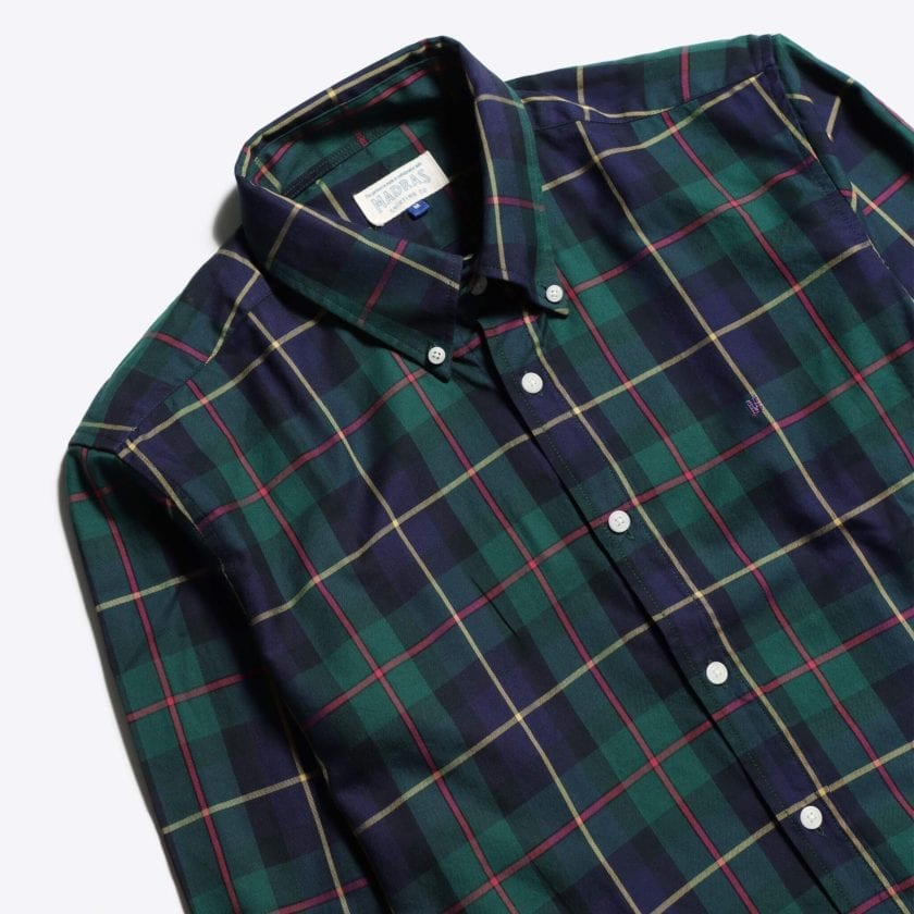 Madras Shirting Co' Mod Button Down Long Sleeve Shirt a Green Multi Check Cotton Up-Cycled Fabric Classic Check Smart Casual 2