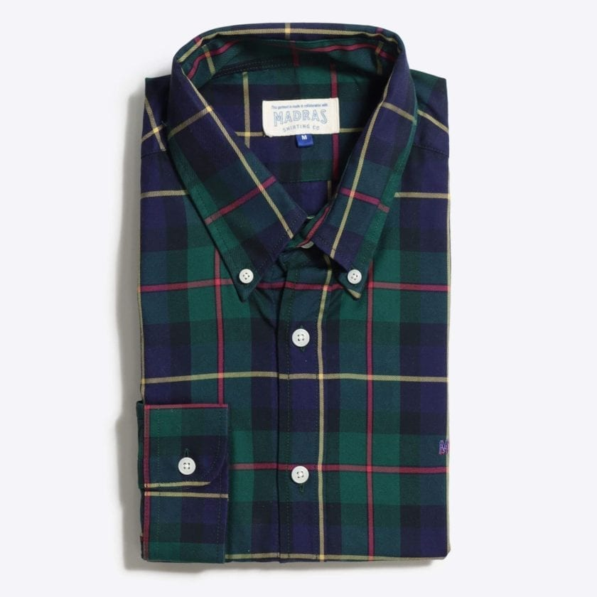 Madras Shirting Co' Mod Button Down Long Sleeve Shirt a Green Multi Check Cotton Up-Cycled Fabric Classic Check Smart Casual 4