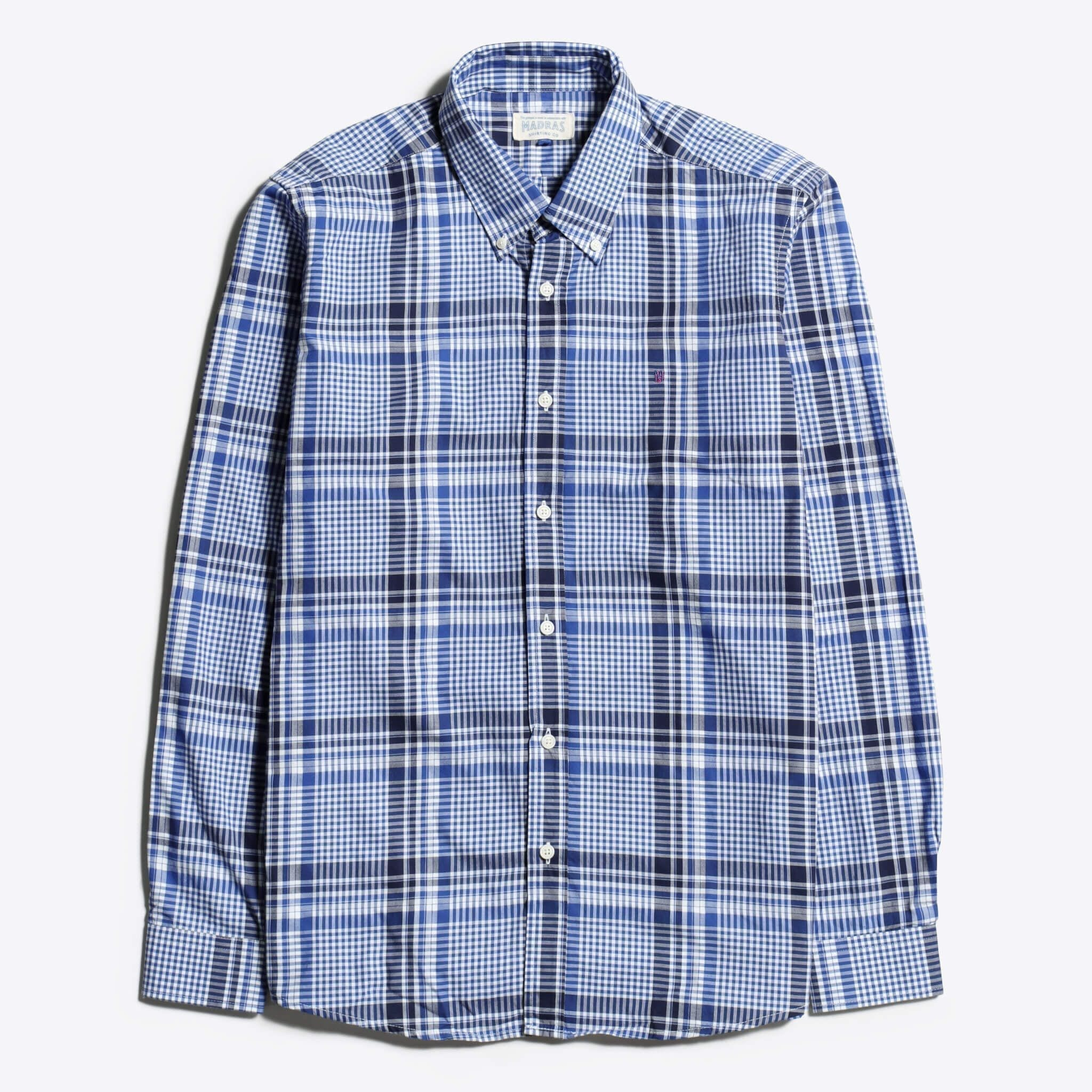 Madras Shirting Co' Mod Button Down Long Sleeve Shirt a Blue Check Cotton Up-Cycled Fabric Classic Check Smart Casual