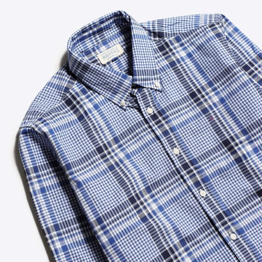 Madras Shirting Co' Mod Button Down Long Sleeve Shirt a Blue Check Cotton Up-Cycled Fabric Classic Check Smart Casual 2