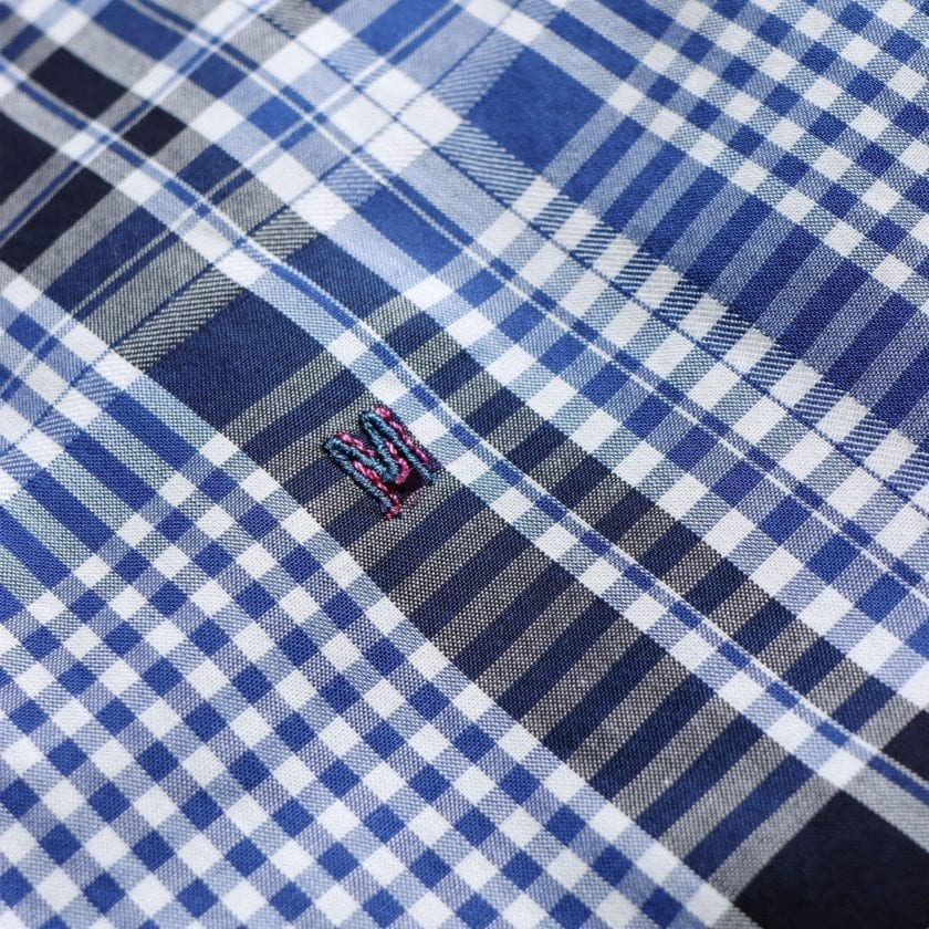 Madras Shirting Co' Mod Button Down Long Sleeve Shirt a Blue Check Cotton Up-Cycled Fabric Classic Check Smart Casual 3