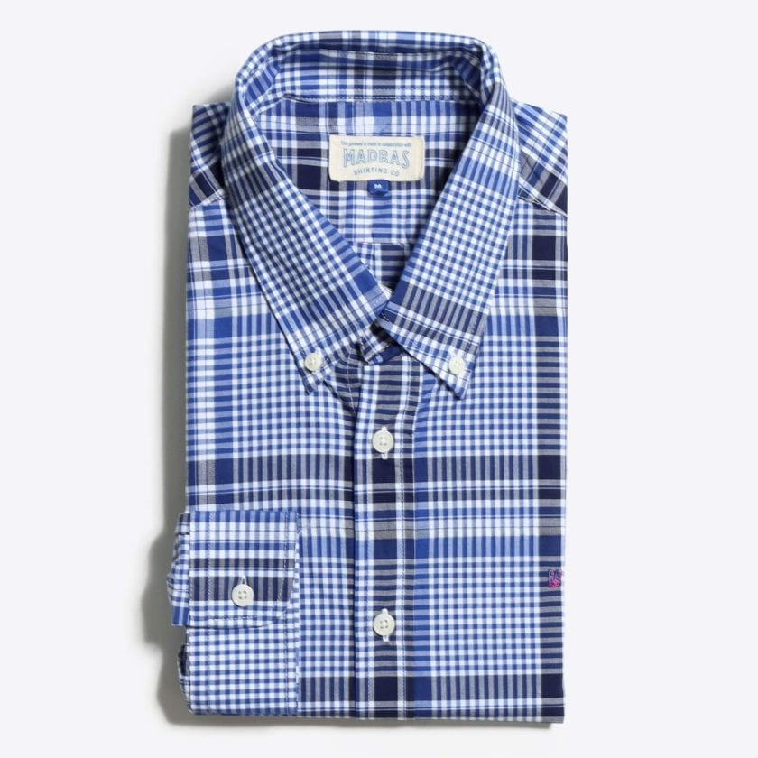 Madras Shirting Co' Mod Button Down Long Sleeve Shirt a Blue Check Cotton Up-Cycled Fabric Classic Check Smart Casual 4
