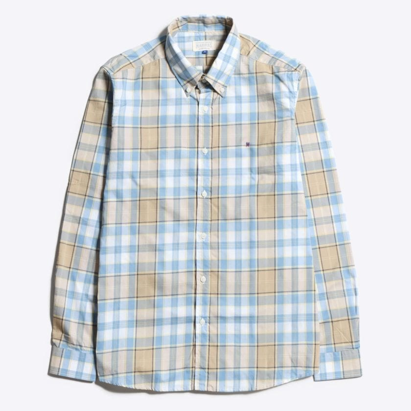 Madras Shirting Co' Mod Button Down Long Sleeve Shirt a Blue Multi Check Cotton Up-Cycled Fabric Classic Check Smart Casual