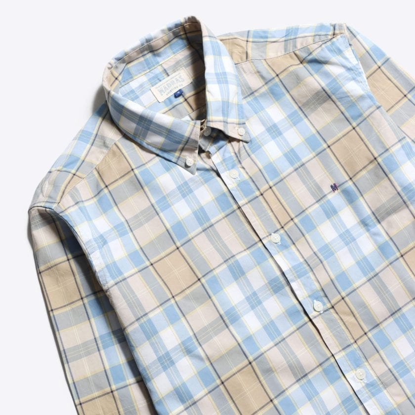 Madras Shirting Co' Mod Button Down Long Sleeve Shirt a Blue Multi Check Cotton Up-Cycled Fabric Classic Check Smart Casual 2