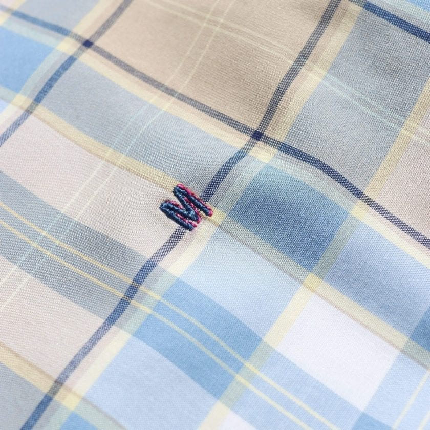 Madras Shirting Co' Mod Button Down Long Sleeve Shirt a Blue Multi Check Cotton Up-Cycled Fabric Classic Check Smart Casual 3