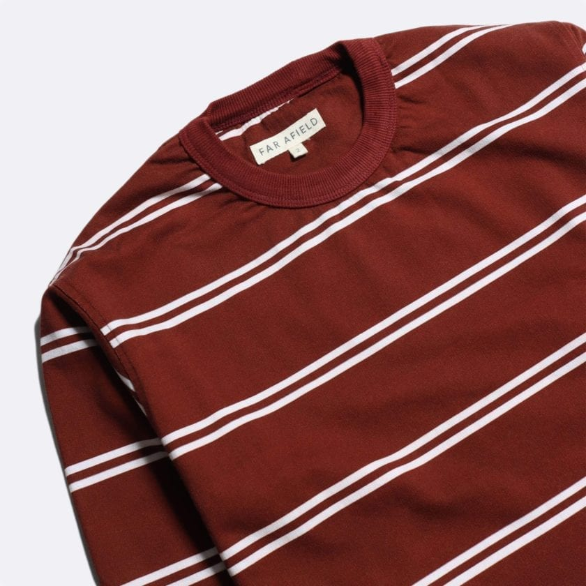 Far Afield French Terry Long Sleeve T-Shirt a Maroon BCI Cotton Fabric Breton Crewneck Casual 2