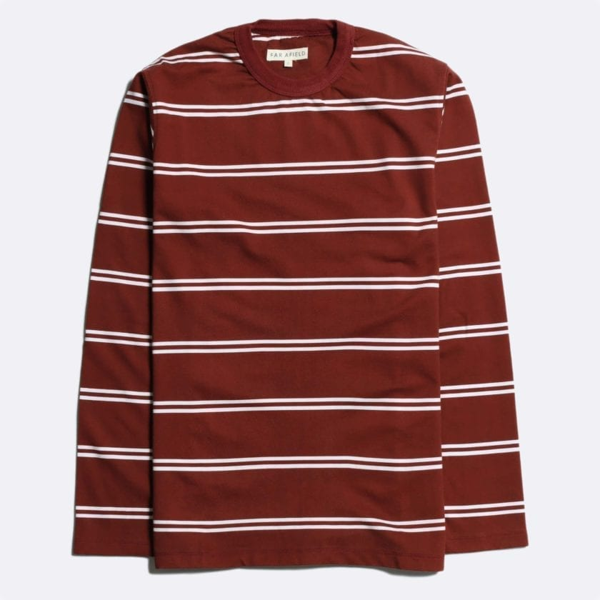 Far Afield French Terry Long Sleeve T-Shirt a Maroon BCI Cotton Fabric Breton Crewneck Casual