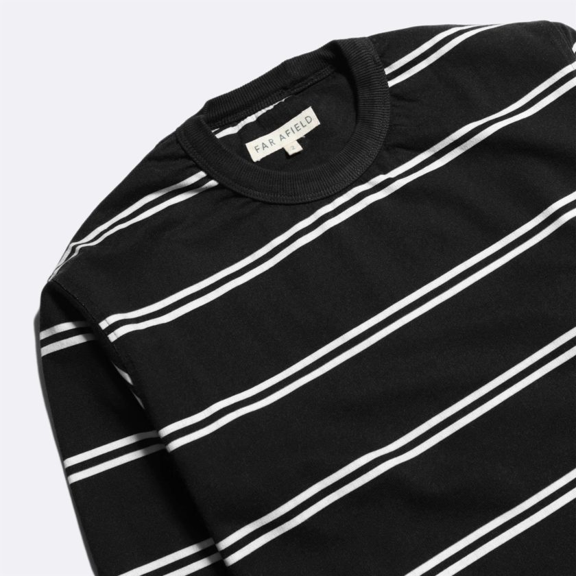 Far Afield French Terry Long Sleeve T-Shirt a Dark Navy BCI Cotton Fabric Breton Crewneck Casual 2