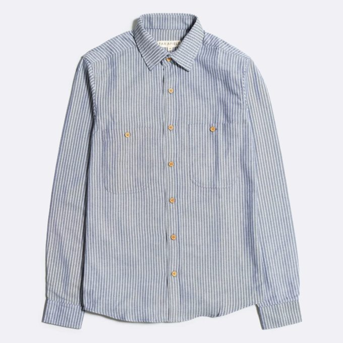 Far Afield Work Shirt a Blue Heavy Cotton Up-Cycled Fabric Classic Work Casual