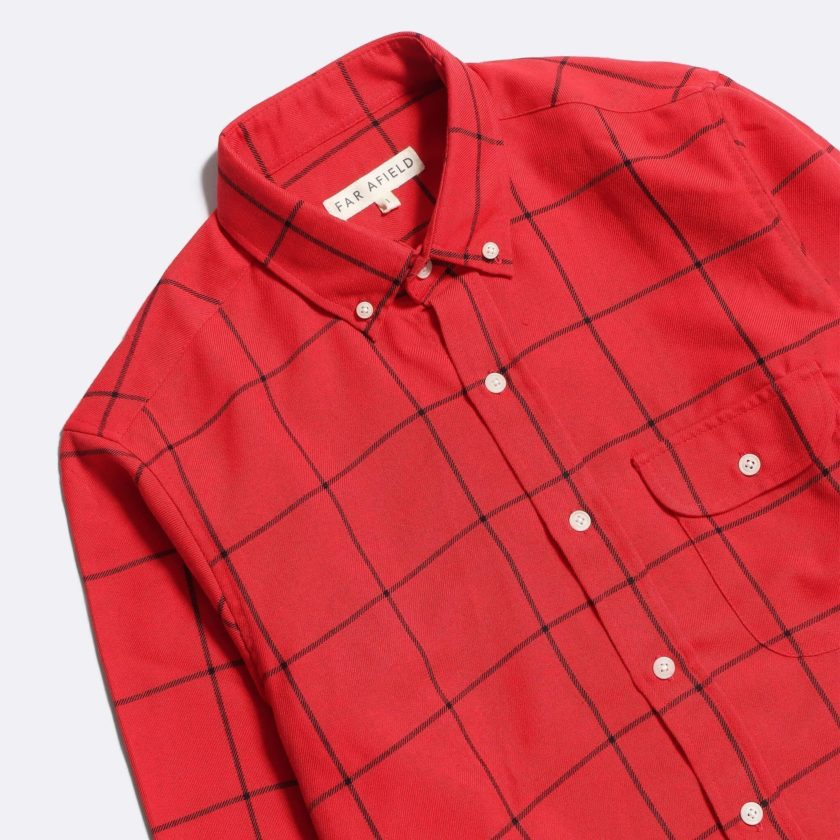 Far Afield Larry Long Sleeve Shirt a Deep Red Check Cotton Flannel Fabric Work Lumberjack Check Casual 2