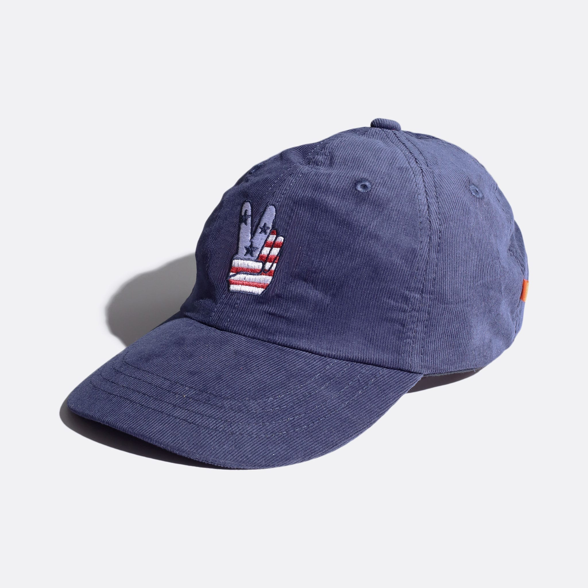Far Afield Carlos Cap – Peace Embriodery a Navy Up-Cycled Cotton Corduroy Fabric Embriodered Cap North American Casual