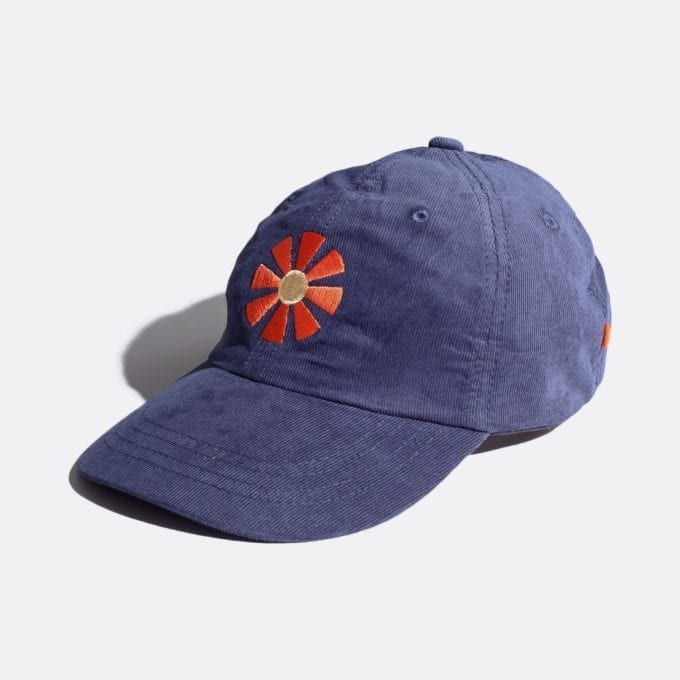 Far Afield Carlos Cap – Sunbeam Embriodery a Navy Up-Cycled Cotton Corduroy Fabric Embriodered Cap North American Casual