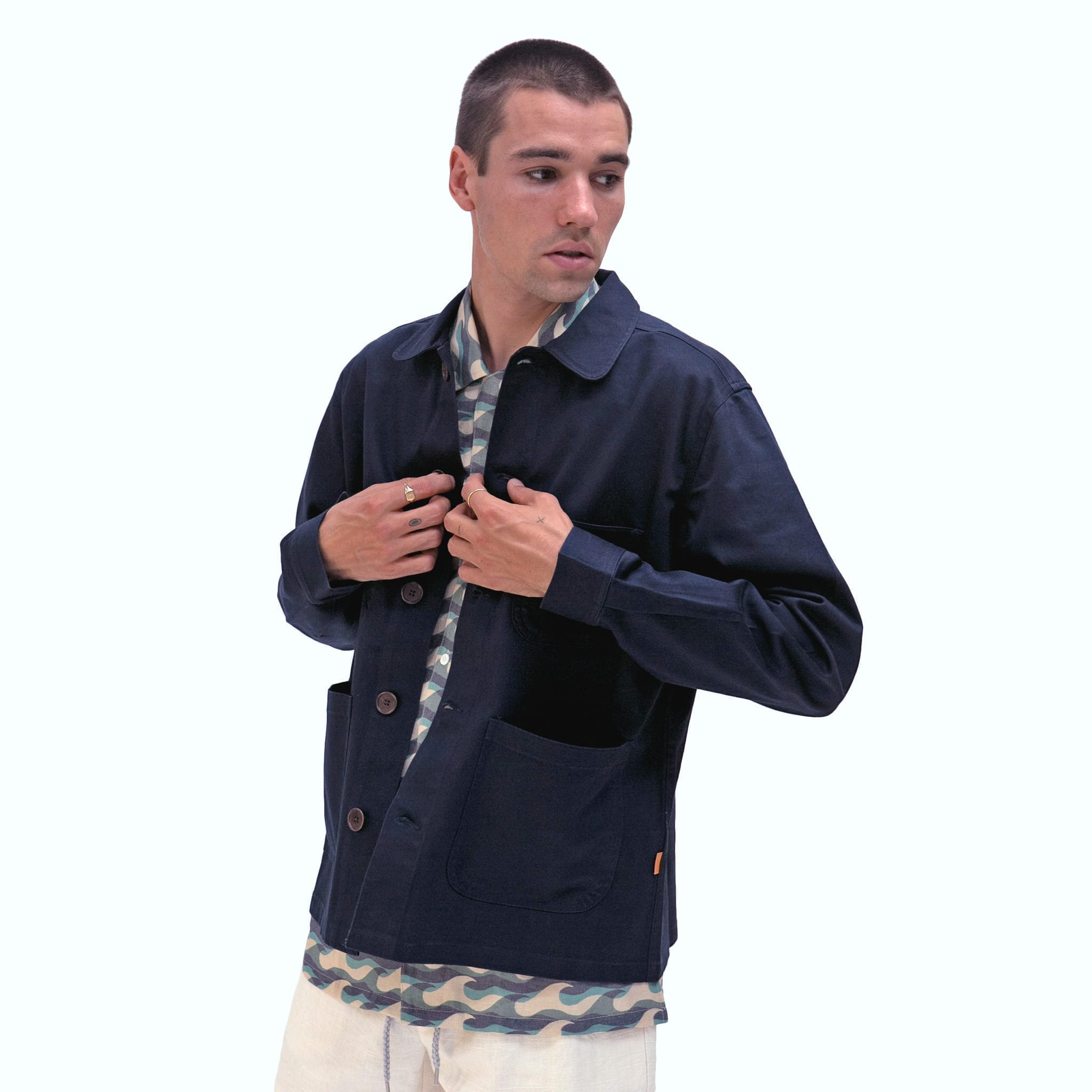 Far Afield Station Jacket a Ensign Blue Organic Cotton Twill Fabric Lightweight Utility Overshirt Classic Work 2