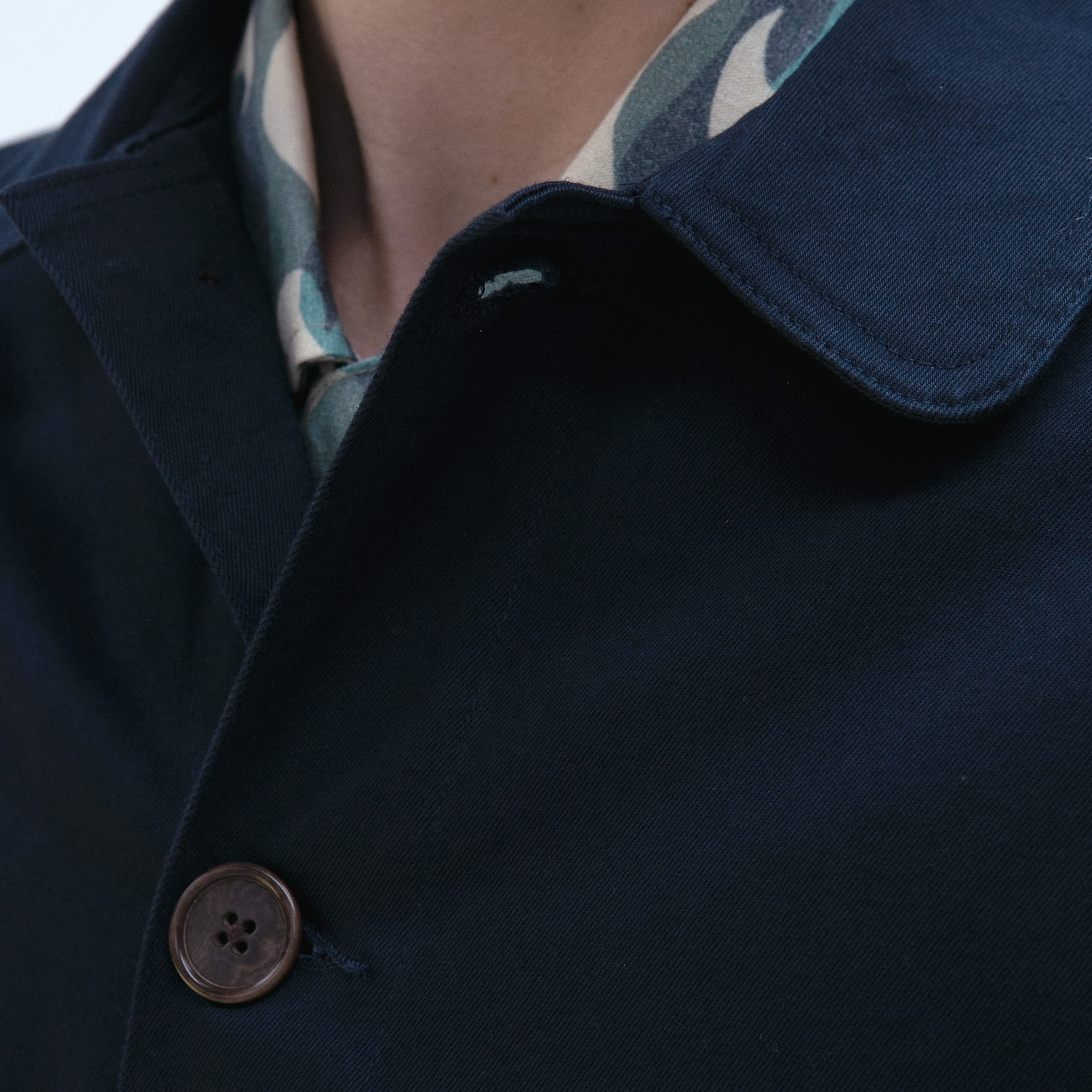 Far Afield Station Jacket a Ensign Blue Organic Cotton Twill Fabric Lightweight Utility Overshirt Classic Work 3