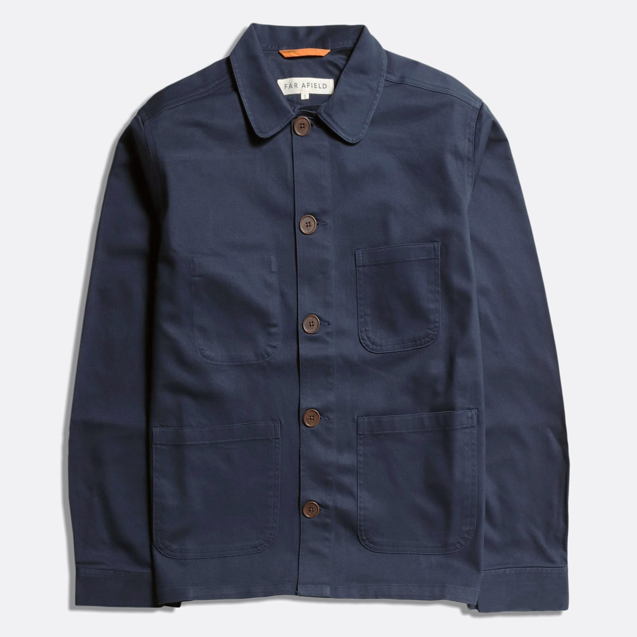 Far Afield Station Jacket a Ensign Blue Organic Cotton Twill Fabric Lightweight Utility Overshirt Classic Work