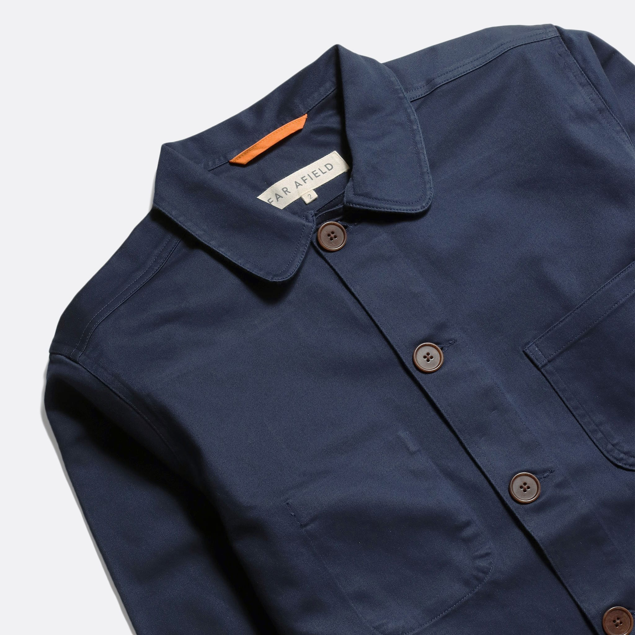 Far Afield Station Jacket a Ensign Blue Organic Cotton Twill Fabric Lightweight Utility Overshirt Classic Work 4