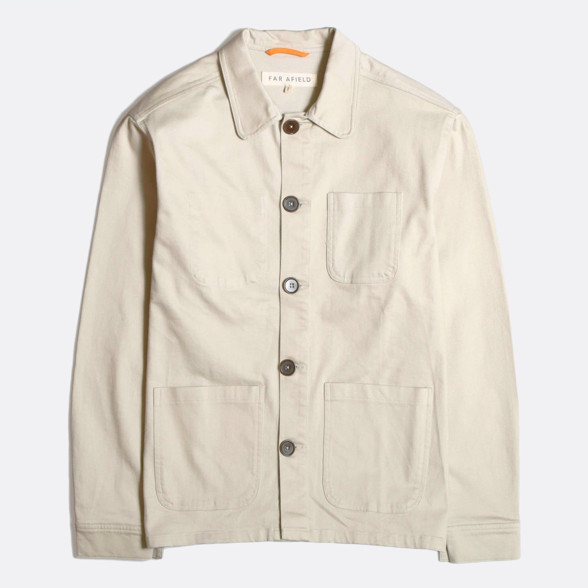 Far Afield Station Jacket a Pumice Stone Organic Cotton Twill Fabric Lightweight Utility Overshirt Classic Work