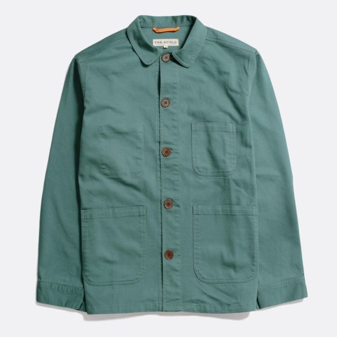 Far Afield Station Jacket a Sagebrush Green Organic Cotton Twill Fabric Lightweight Utility Overshirt Classic Work