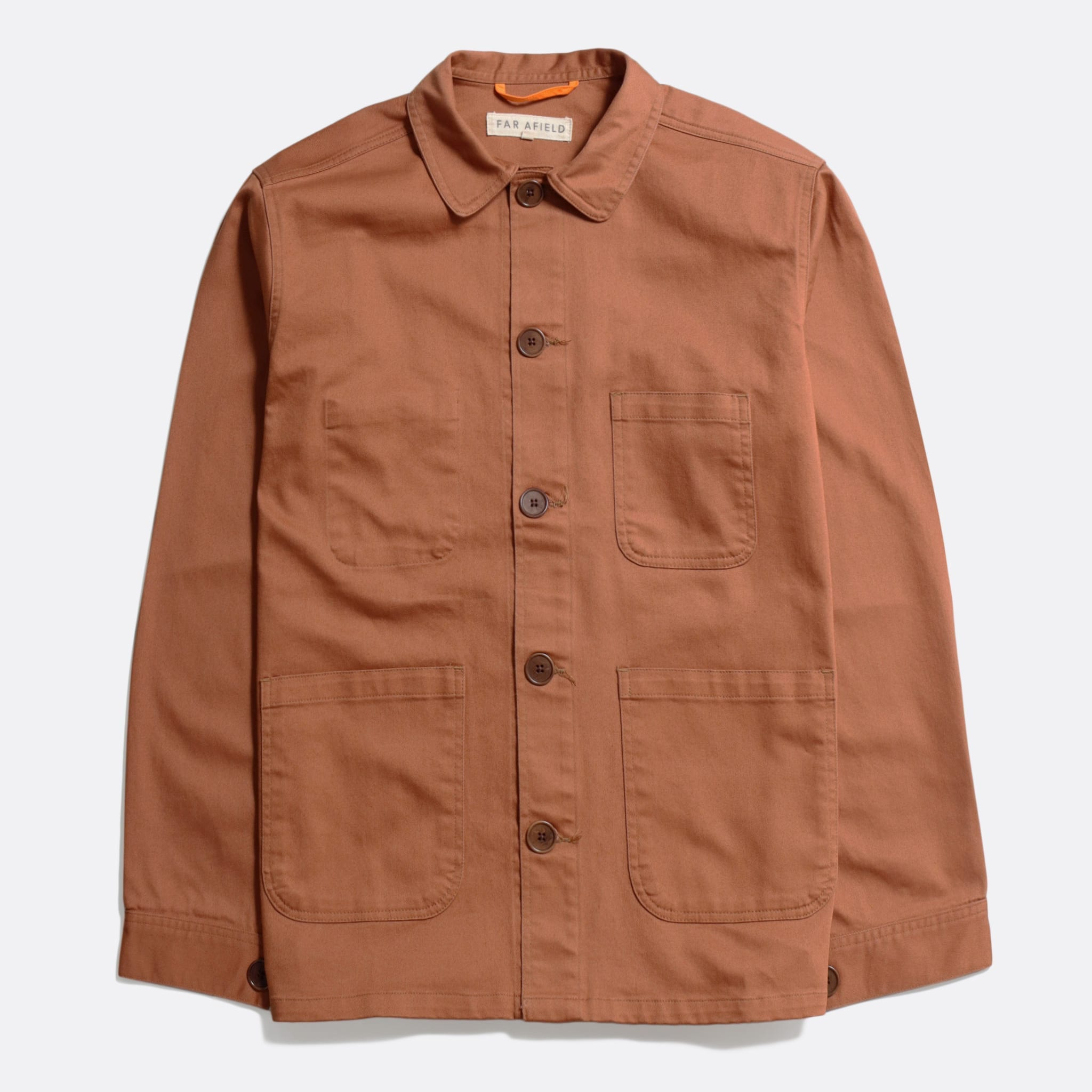 Far Afield Station Jacket a Thrush Brown Organic Cotton Twill Fabric Lightweight Utility Overshirt Classic Work