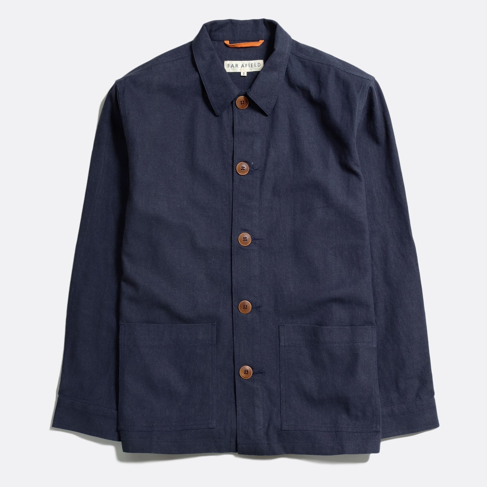 Far Afield Bisset Jacket a Ensign Blue Linen Fabric Lightweight Buttoned Classic Work