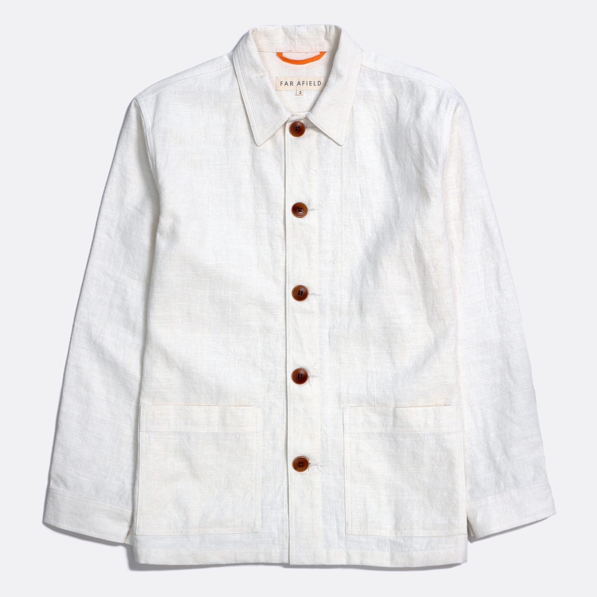 Far Afield Bisset Jacket a White Sand Linen Fabric Lightweight Buttoned Classic Work