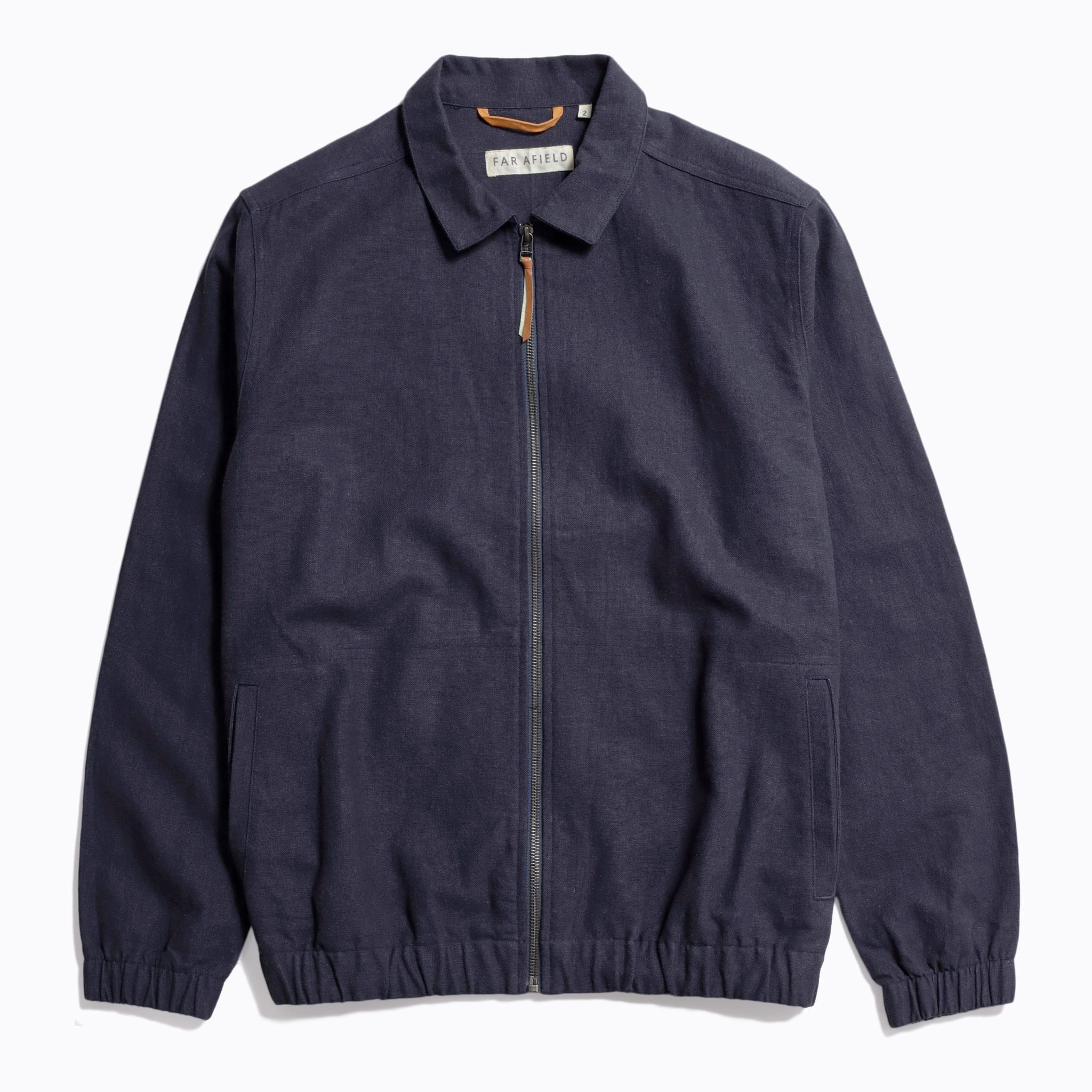 Far Afield Santana Jacket a Ensign Blue Linen Fabric Lightweight Zip Retro Inspired