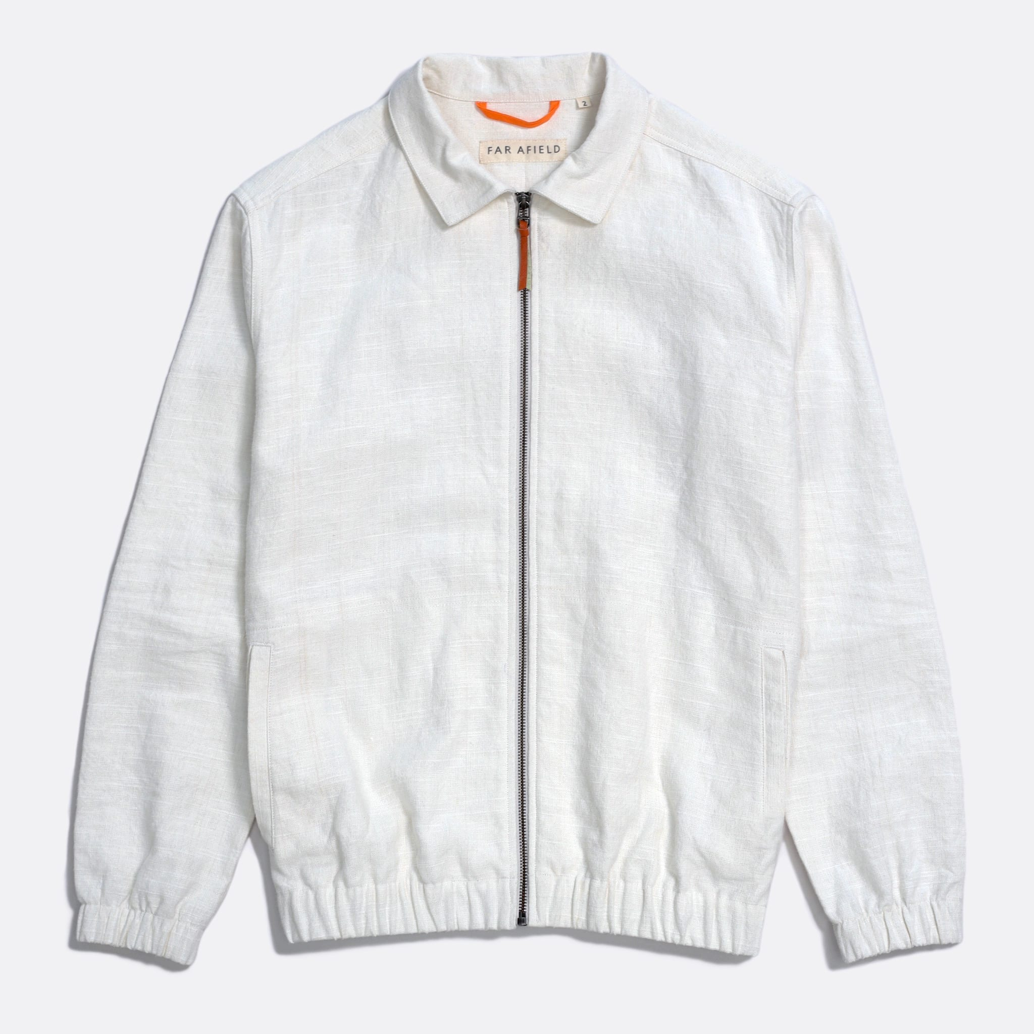 Far Afield Santana Jacket a White Sand Linen Fabric Lightweight Zip Retro Inspired