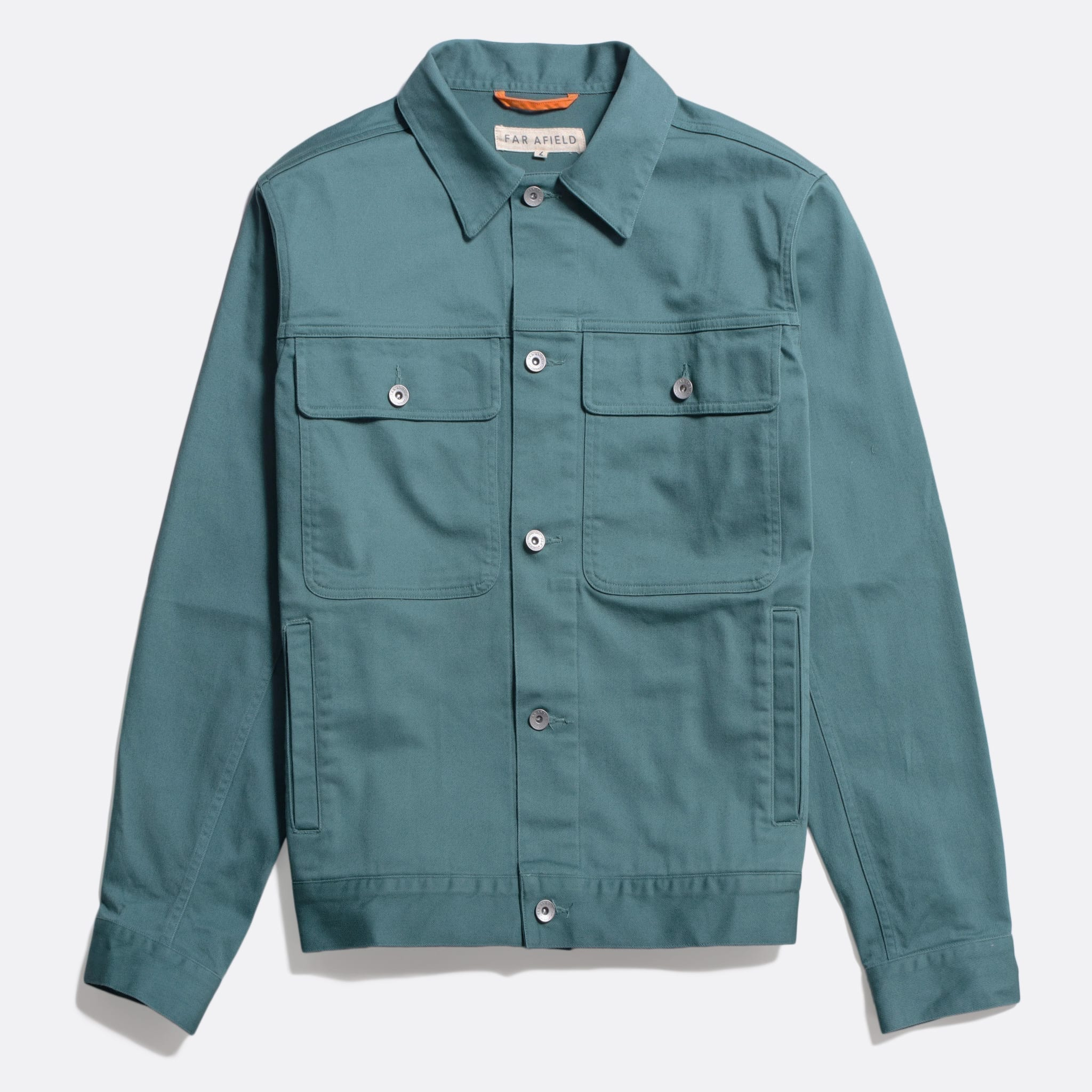 Far Afield Watts Jacket a Sagebrush Green Organic Cotton Twill Fabric Lightweight Trucker Classic Work