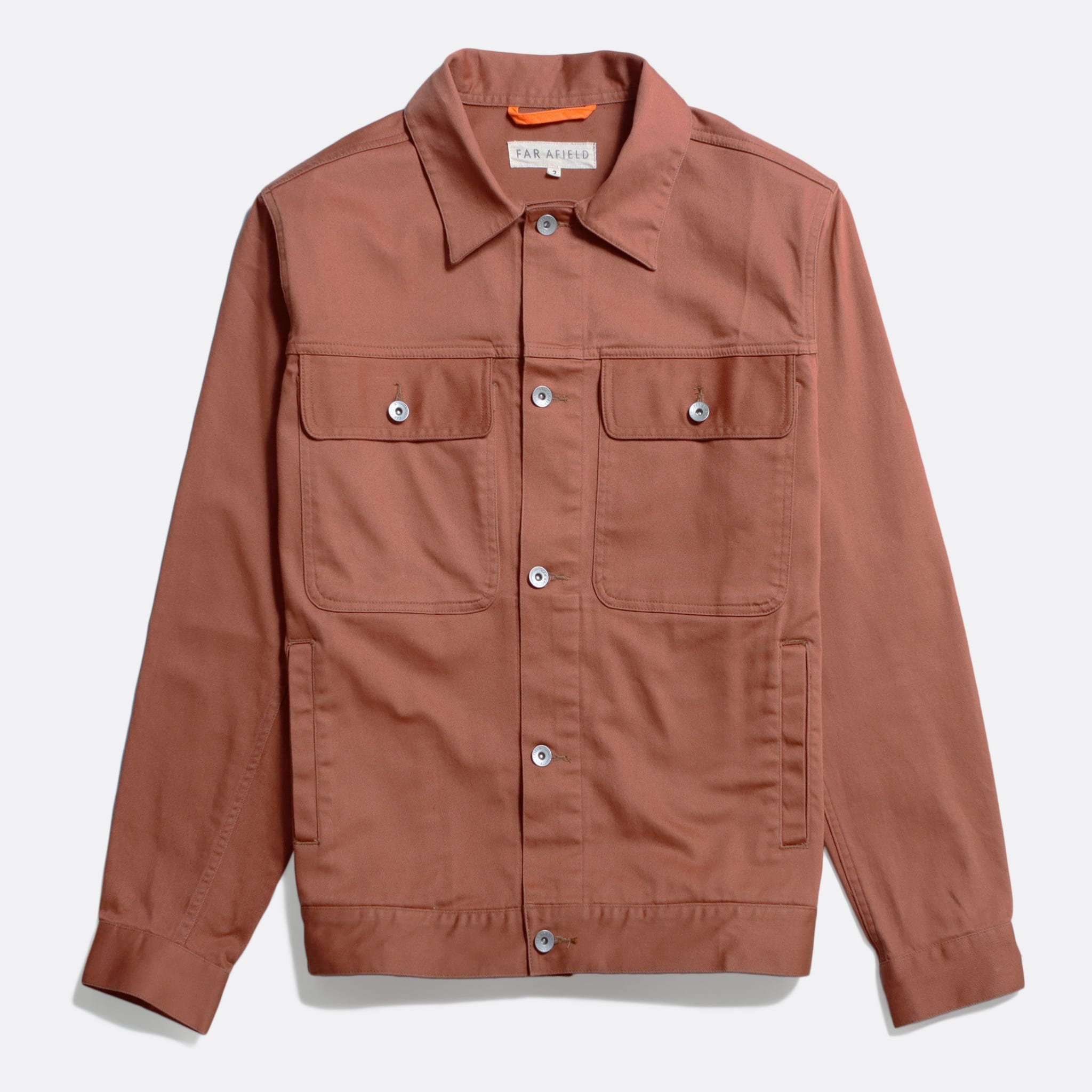 Far Afield Watts Jacket a Thrush Brown Organic Cotton Twill Fabric Lightweight Trucker Classic Work