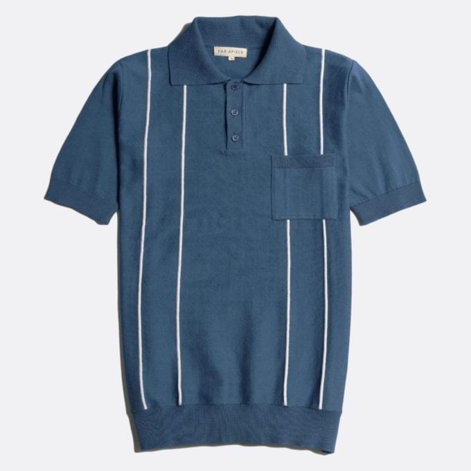 Far Afield Alfaro Short Sleeve Polo a Ensign Blue/White Sand Organic Cotton Fabric Italian Mod Knitwear Mid Century Inspired
