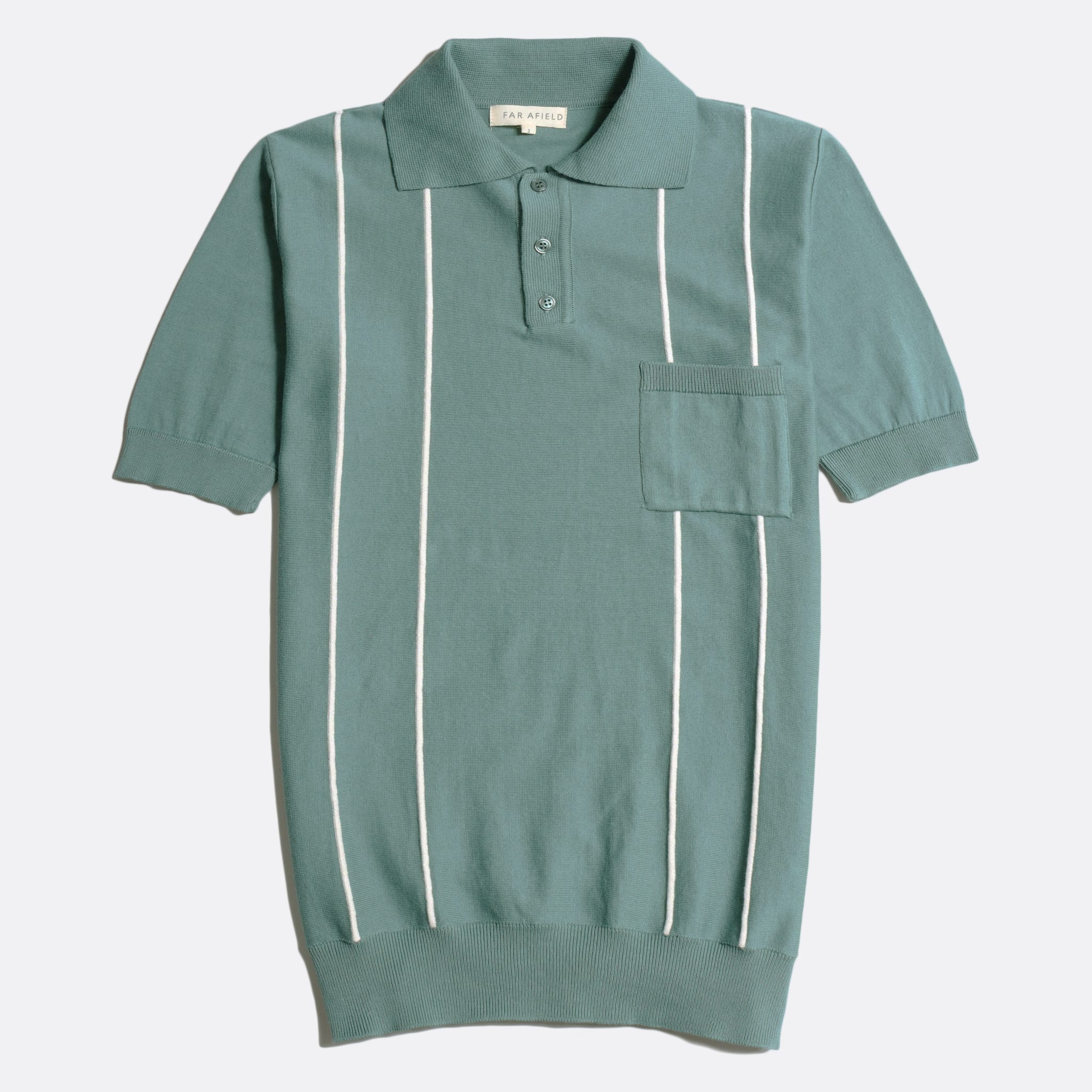 Far Afield Alfaro Short Sleeve Polo a Sagebrush Green/White Sand Organic Cotton Fabric Italian Mod Knitwear Mid Century Inspired