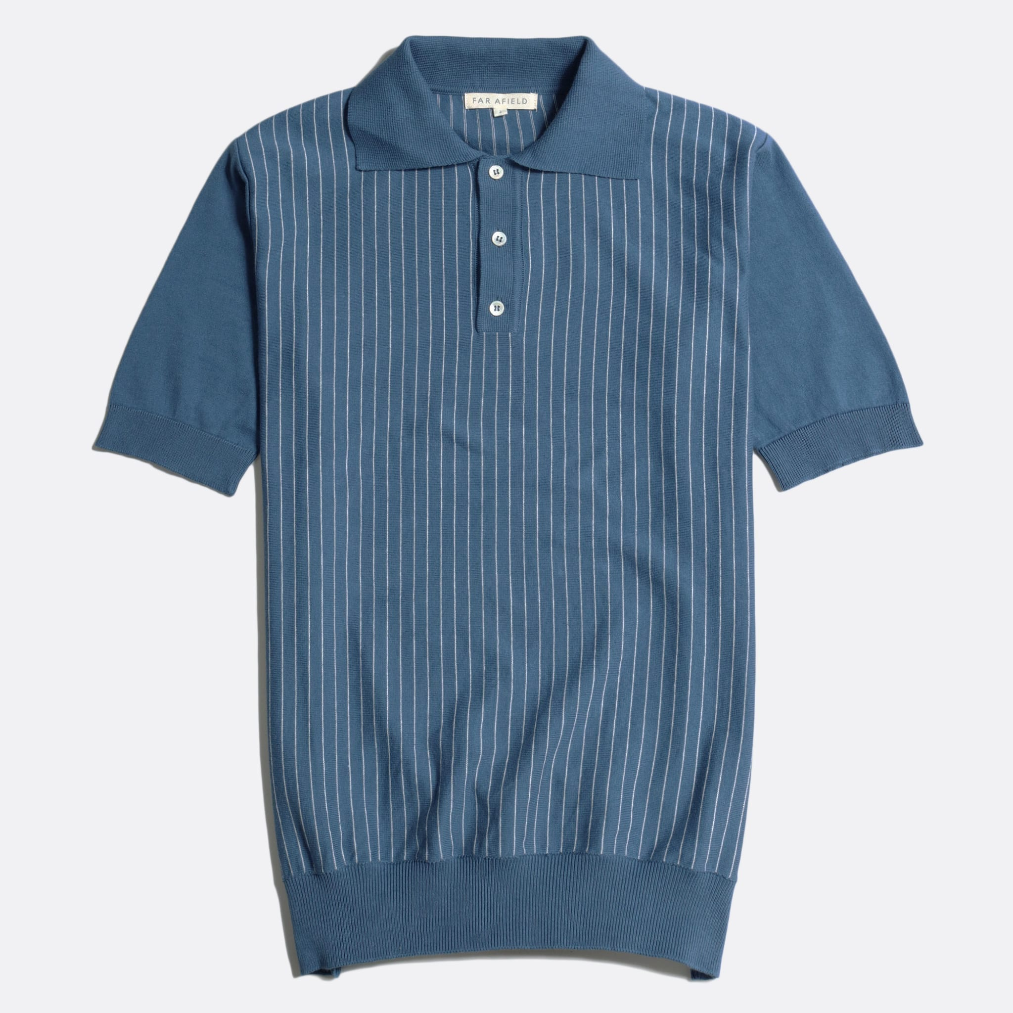 Far Afield Benny Short Sleeve Polo a Ensign Blue/White Sand Organic Cotton Fabric Short Sleeve Polo Mid Century Inspired