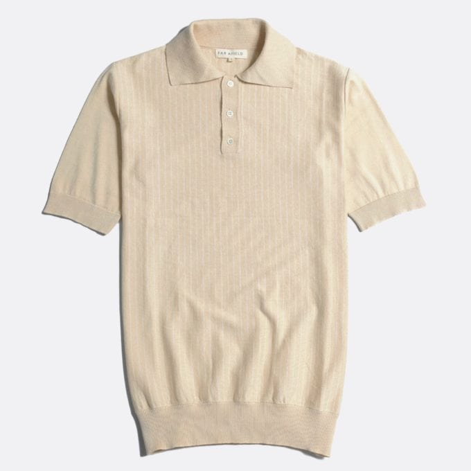 Far Afield Benny Short Sleeve Polo a Lambs White/White Sand Organic Cotton Fabric Short Sleeve Polo Mid Century Inspired