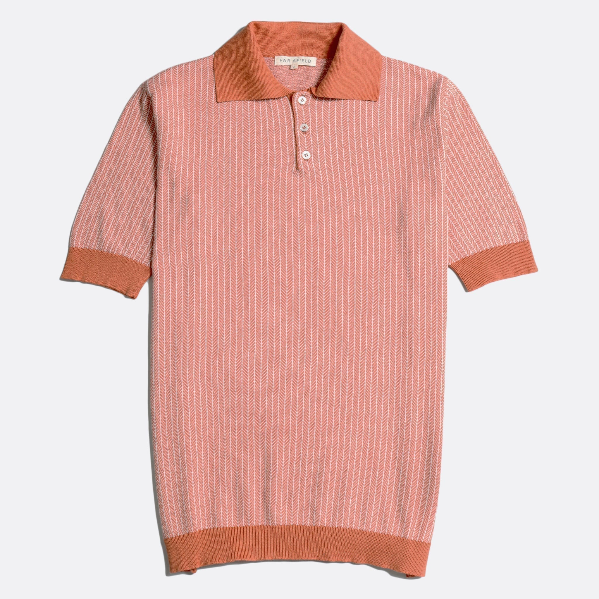 Far Afield Blakey Short Sleeve Polo a Arabesque Orange/White Sand Organic Cotton Fabric Short Sleeve Polo Mid Century Inspired