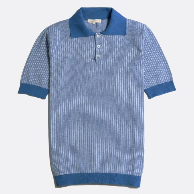Far Afield Blakey Short Sleeve Polo a Bright Cobalt/White Sand Organic Cotton Fabric Short Sleeve Polo Mid Century Inspired