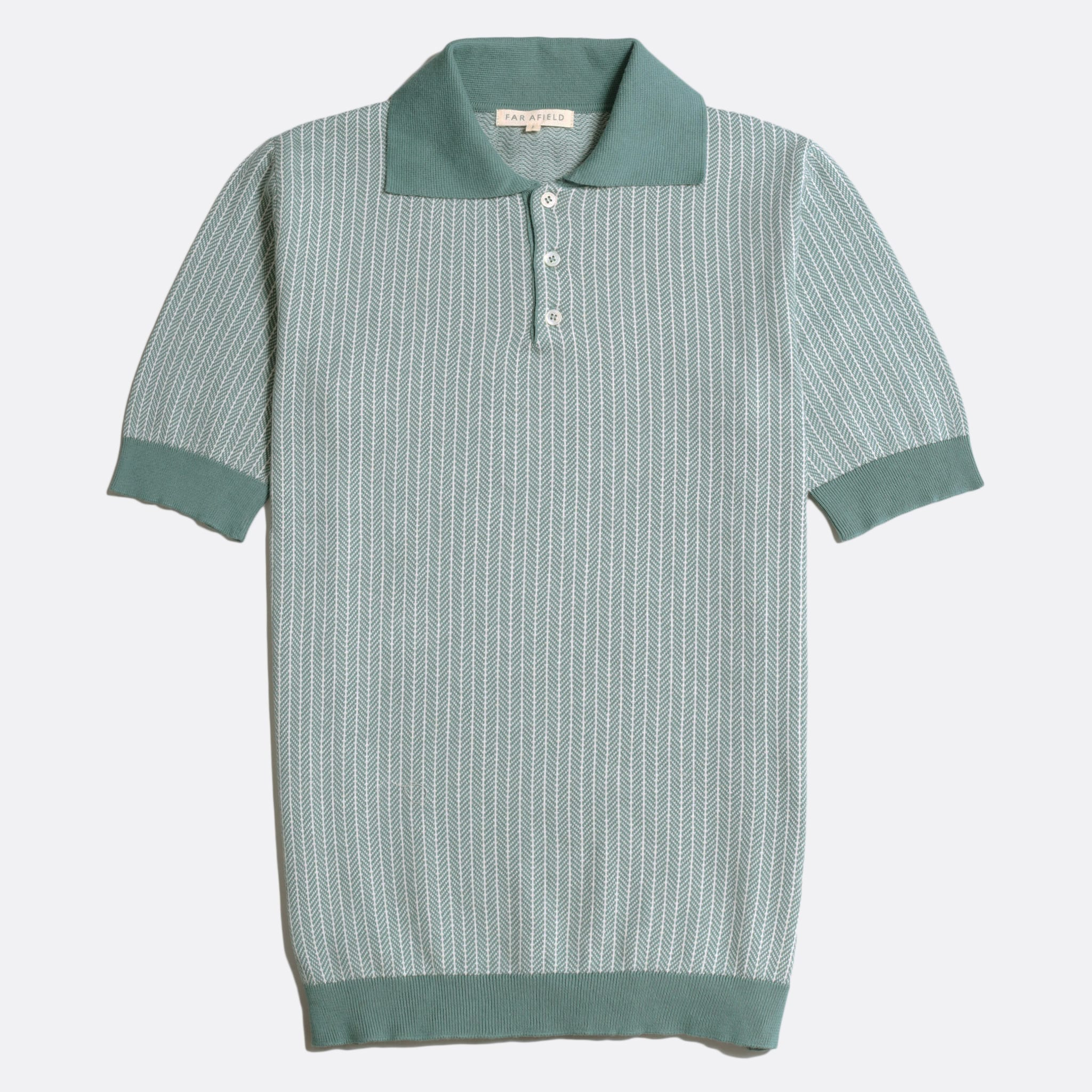 Far Afield Blakey Short Sleeve Polo a Sagebrush Green Organic Cotton Fabric Short Sleeve Polo Mid Century Inspired