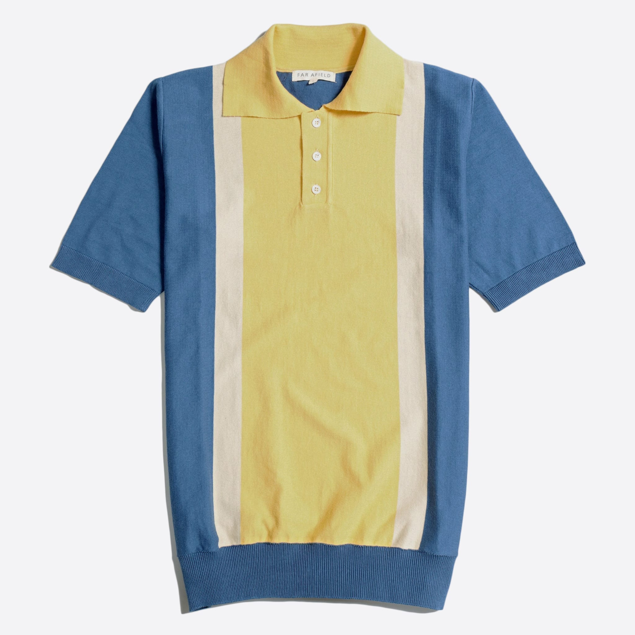 Far Afield Cole Trio Short Sleeve Polo a Ensign Blue/Cornsilk Yellow Organic Cotton FabricMid Century Inspired