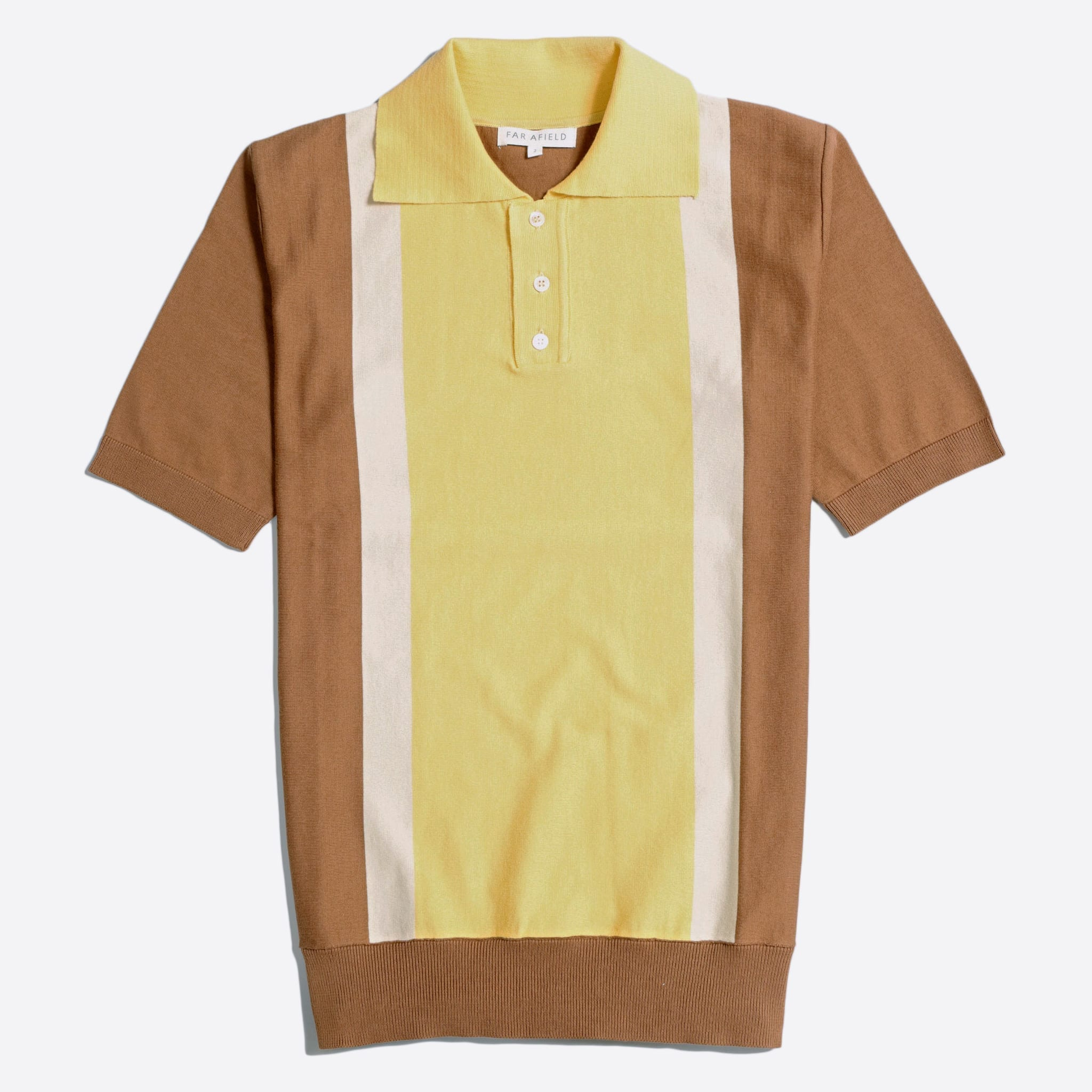 Far Afield Cole Trio Short Sleeve Polo a Thrush Brown/Cornsilk Yellow Organic Cotton FabricMid Century Inspired