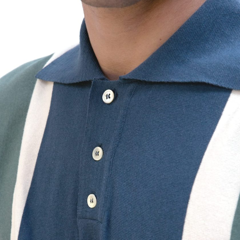 Far Afield Cole Trio Short Sleeve Polo a Sagebrush Green/Ensign Blue Organic Cotton FabricMid Century Inspired 3