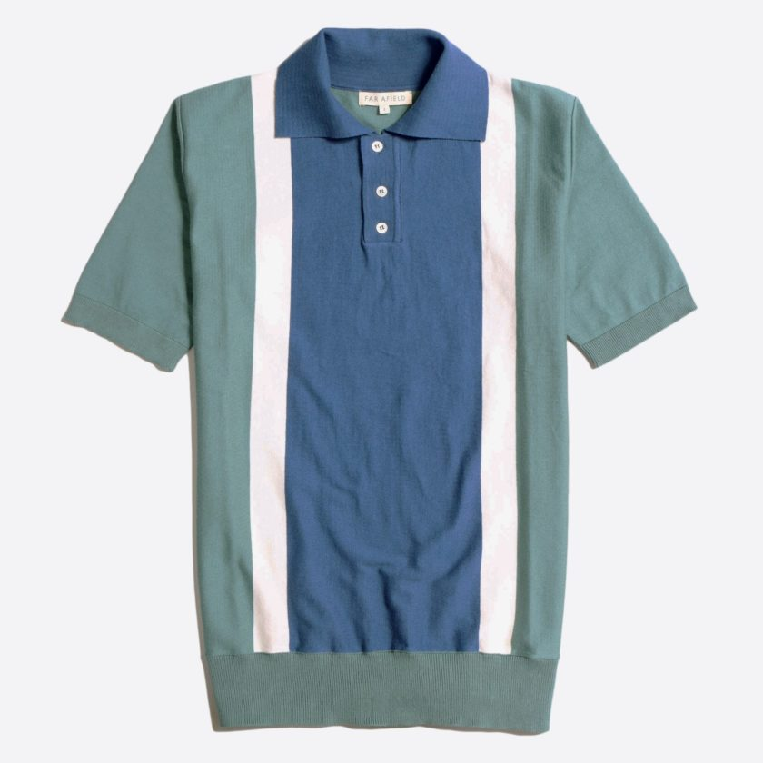 Far Afield Cole Trio Short Sleeve Polo a Sagebrush Green/Ensign Blue Organic Cotton FabricMid Century Inspired