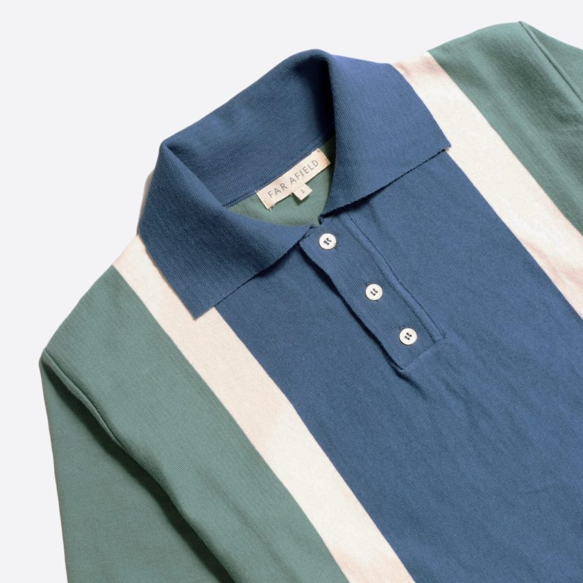 Far Afield Cole Trio Short Sleeve Polo a Sagebrush Green/Ensign Blue Organic Cotton FabricMid Century Inspired 4