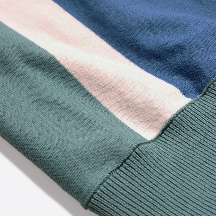 Far Afield Cole Trio Short Sleeve Polo a Sagebrush Green/Ensign Blue Organic Cotton FabricMid Century Inspired 5